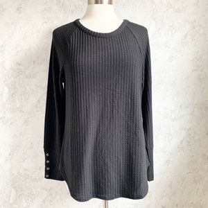 Chaser Black Ribbed Thermal Button Cuff Tee XL